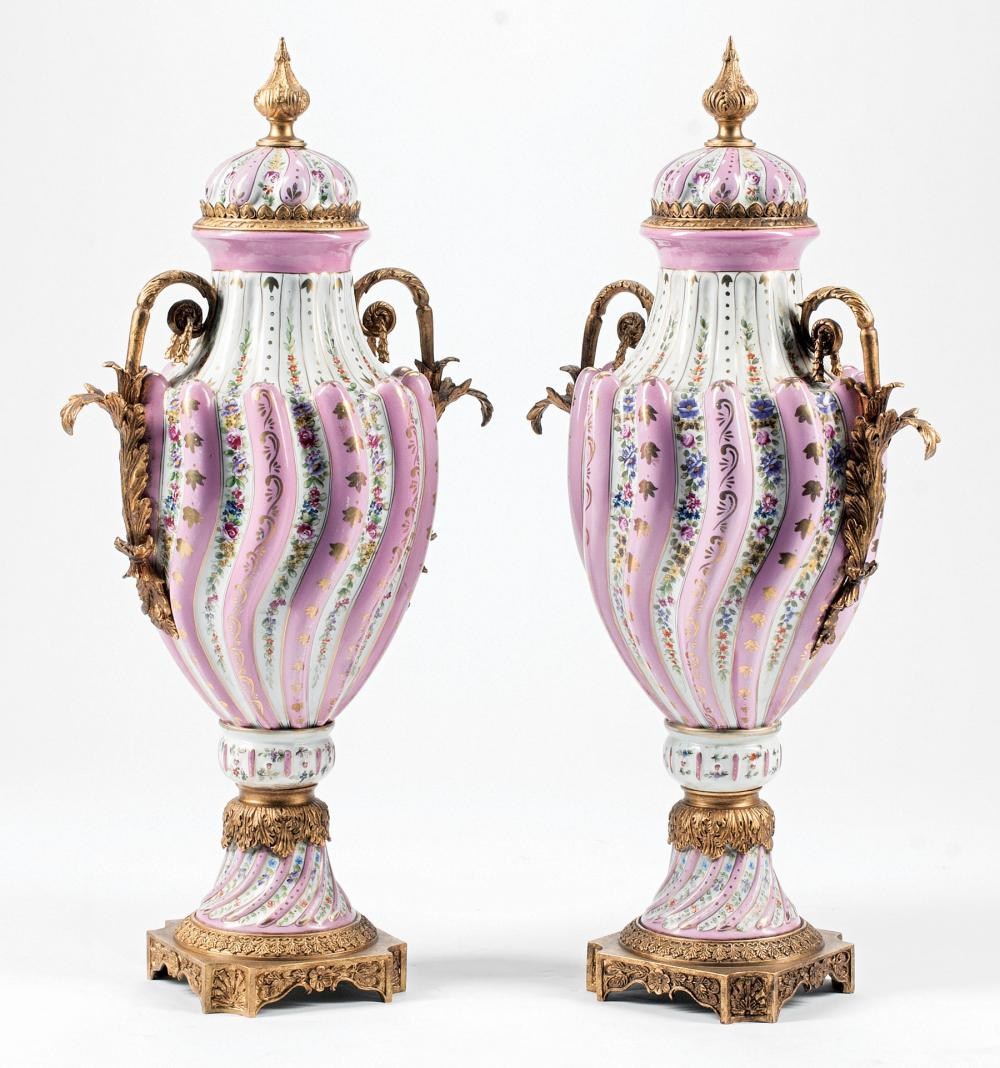 Bronze-Mounted and Gilt Porcelain Covered Urns