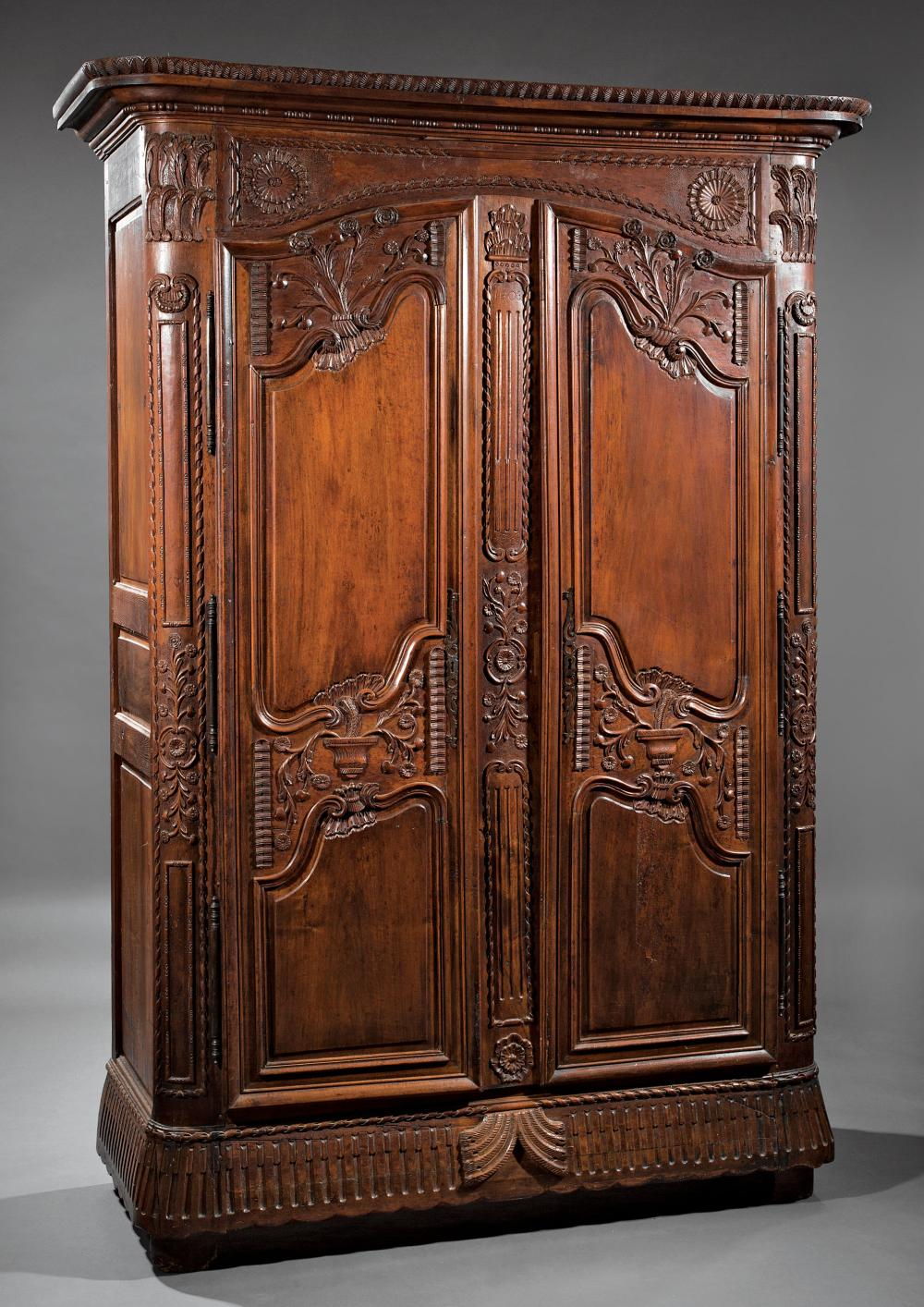 Louis XVI Highly Carved Walnut Armoire