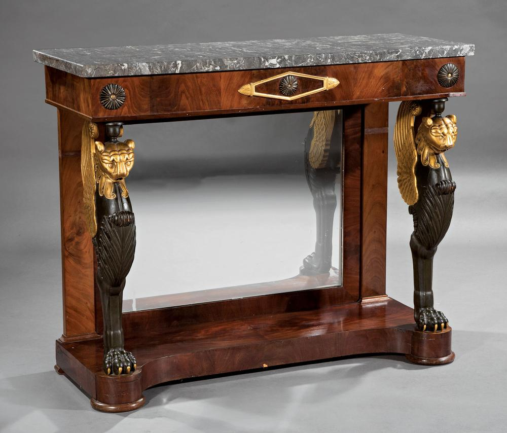Carved, Ebonized and Gilded Mahogany Pier Tables
