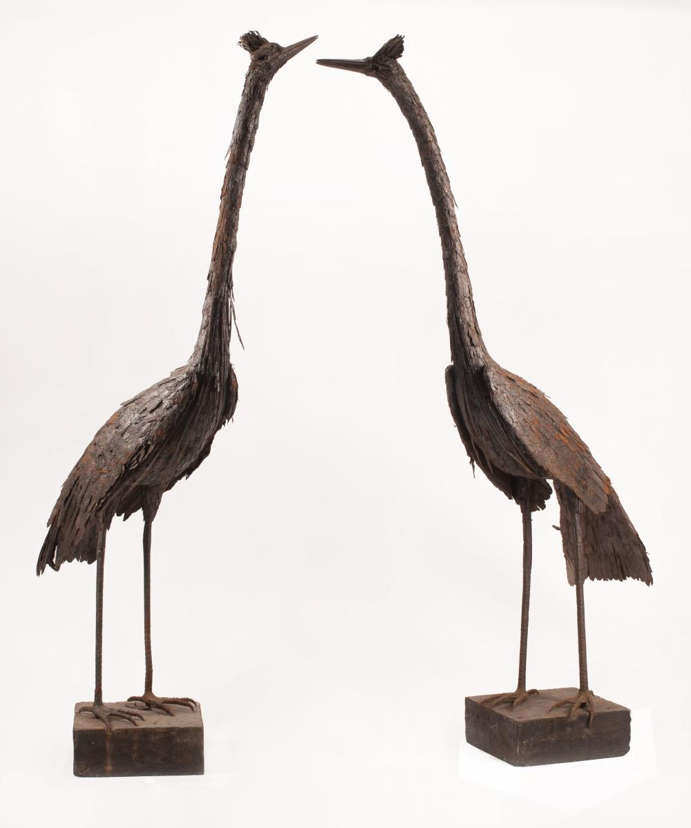 Pair of Monumental Continental Tôle and Cast-Iron Cranes