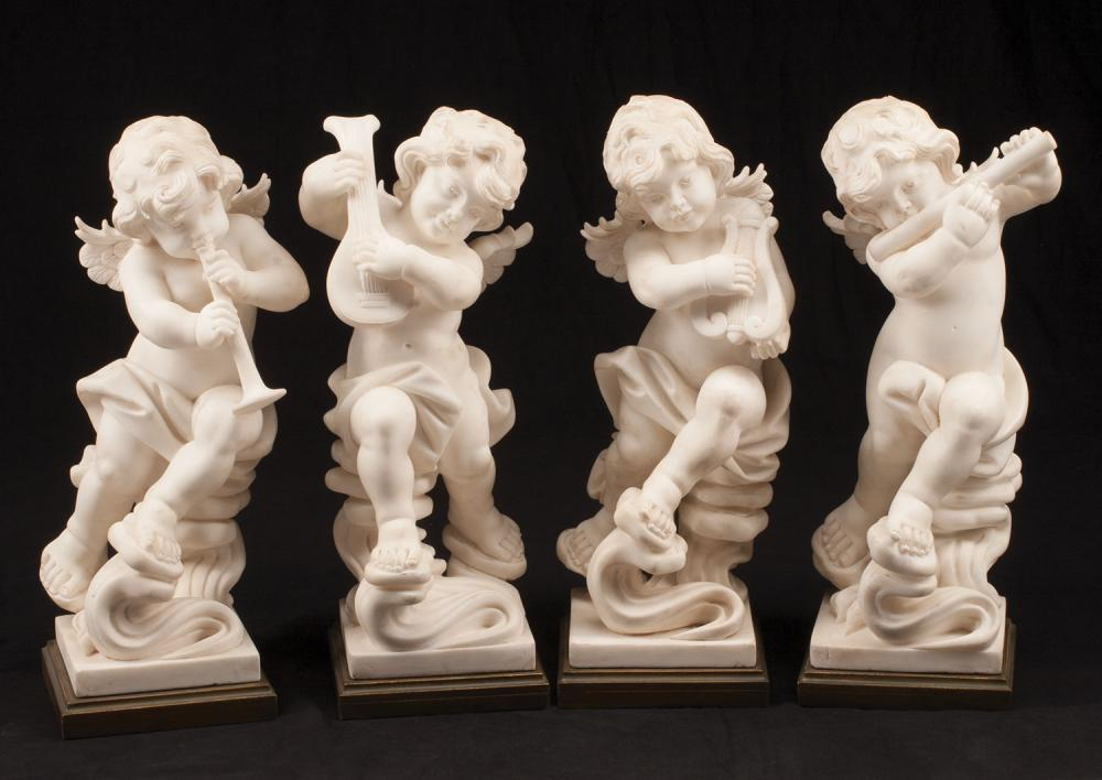 Carved White Marble Putti Playing Instruments