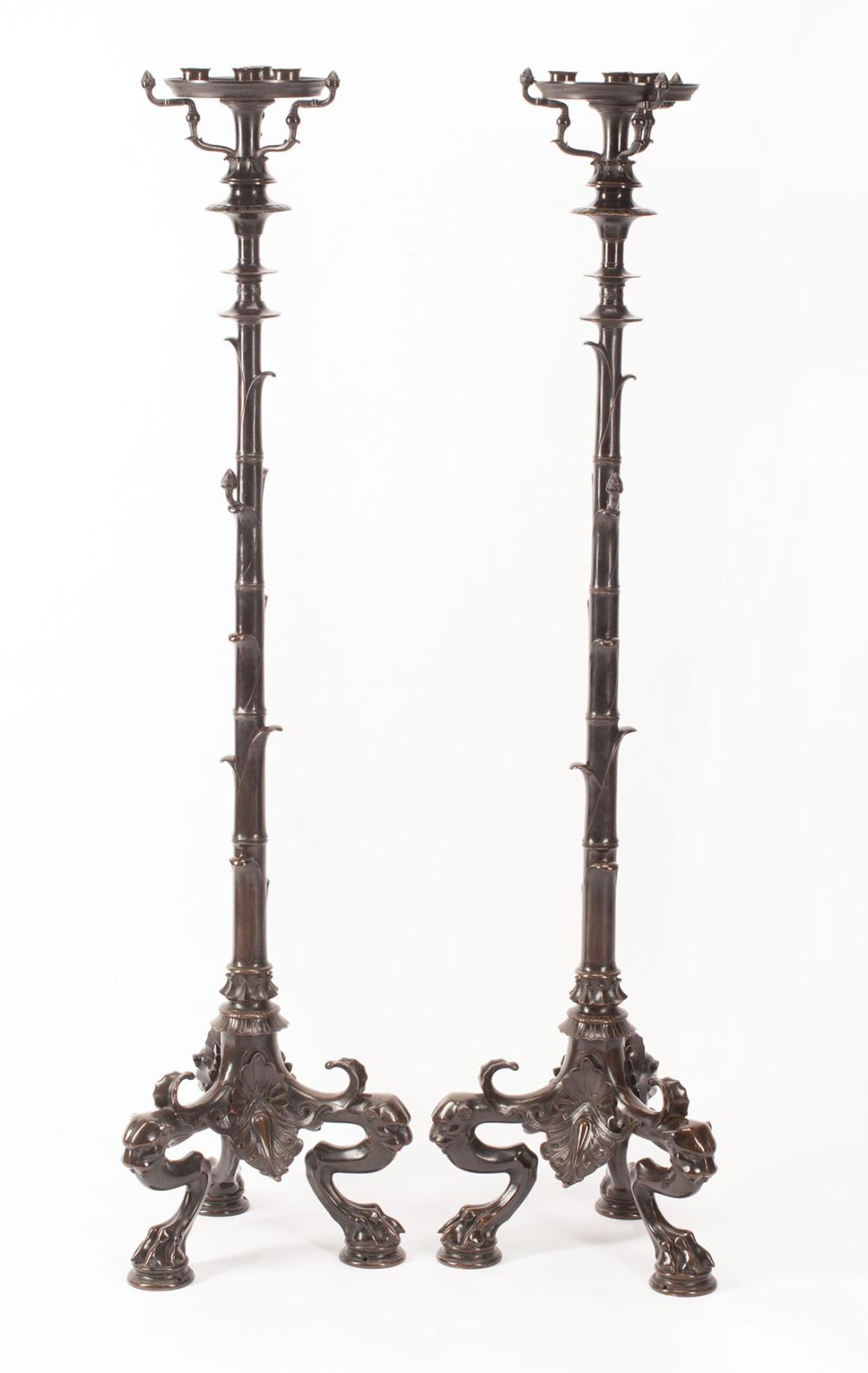Pompeian-Style Patinated Bronze Chandelier