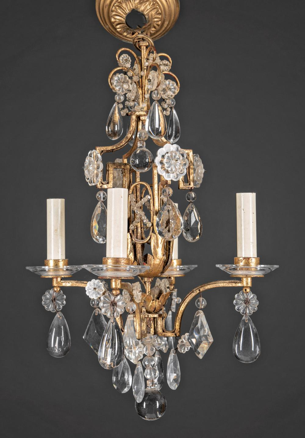 Diminutive French Gilt Bronze and Cut Crystal Chandelier
