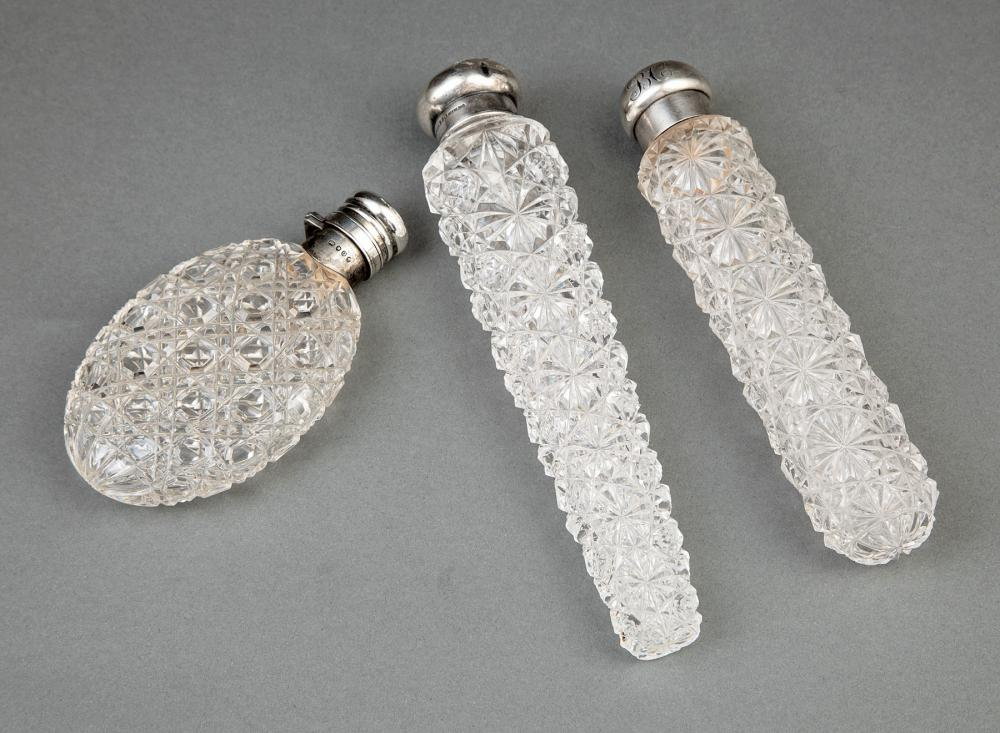 Sterling Silver-Mounted Cut Glass Scent Flasks