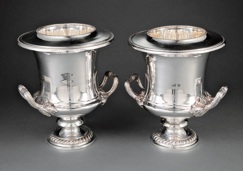 Pair of Silverplate Campagna Form Wine Coolers