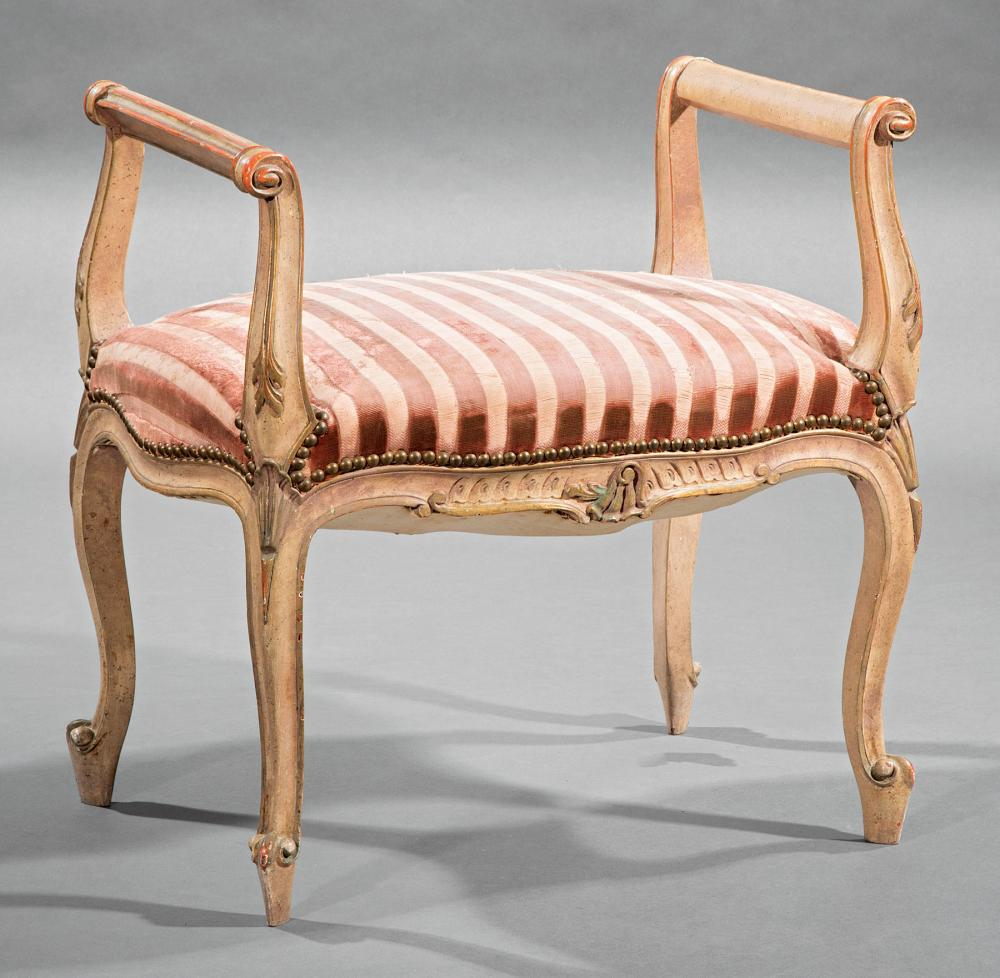 Louis XV-Style Carved and Painted Stool