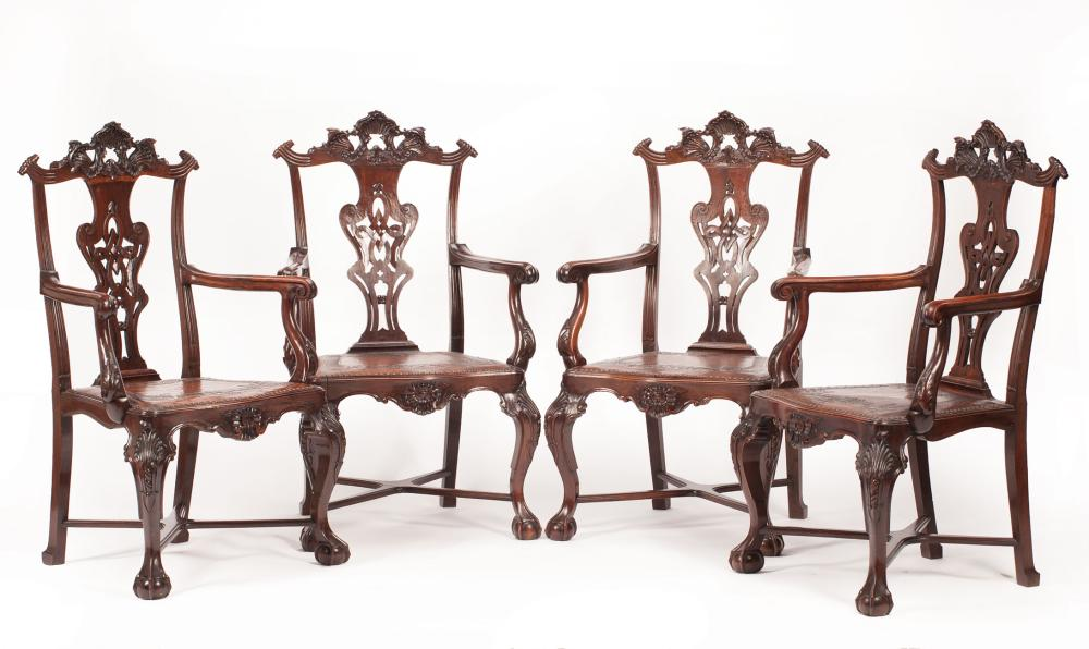 Portuguese Rococo-Style Carved Rosewood Armchairs