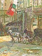 """Bart Schouten (Leroy) (Dutch, b. 1941), """"Street Scene with Horse Drawn Carriage"""", oil on canvas, signed lower left """"Leroy"""", 153/4 in. x 113/4 in., in a giltwood frame."""