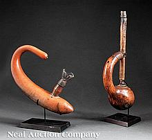 Two African Gourd Pipes