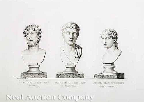 Eight Italian Engravings of Roman Sculpture, 18th