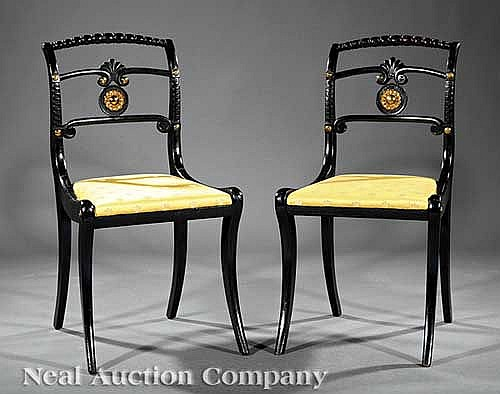 Gilt Bronze-Mounted and Ebonized Side Chairs