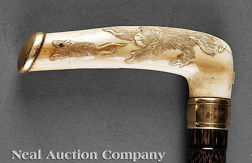 Gold, Ivory, Horn-Mounted Macassar Wood Cane