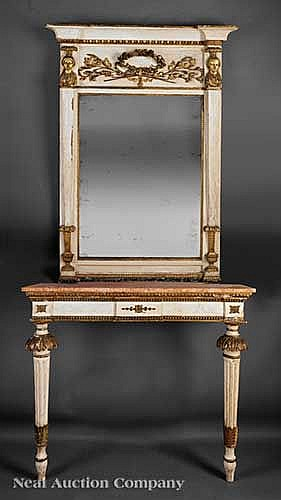 Italian Carved, Painted, Gilt Mirror and Console