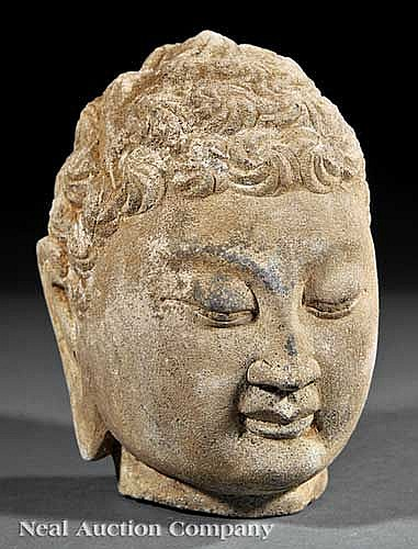 Chinese Carved Stone Head of Buddha