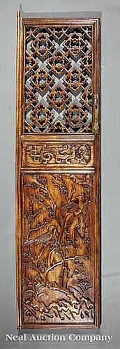 Two Pairs Chinese Carved Huanghuali Cabinet Doors
