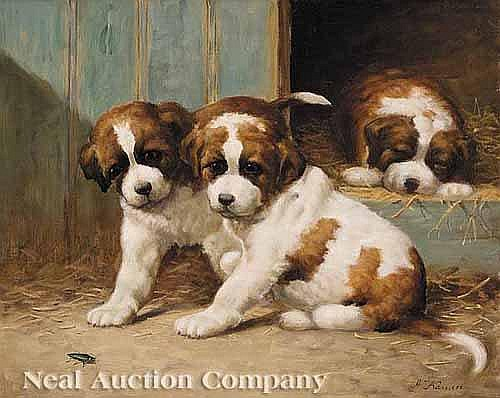 Anton Karssen (Dutch, b. 1945), ³Puppies Playing