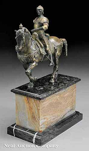 A French Painted Bronze Equestrian Figure of