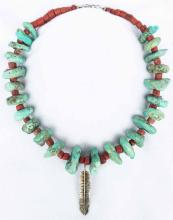 Native American Turquoise And Coral Necklace
