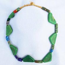 African Jade And Trade Bead Necklace