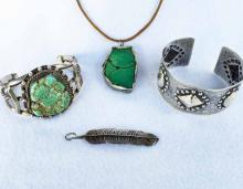 Collection Of Native American Sterling Jewelry