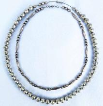 (2) Native American Sterling Silver Beaded Necklaces