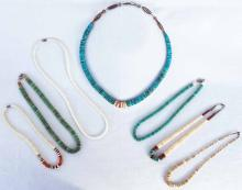 Native American Turquoise And Shell Necklaces
