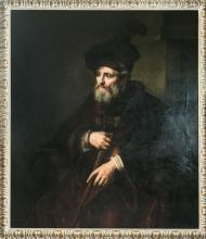 19th Century Portrait After Rembrandt Oil Painting