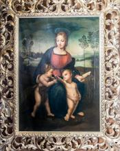 18th Century Oil Painting of The Madonna and the Gold Finch After Raphael Oil Painting