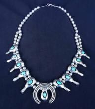 Silver and Turquois Squash Blossom Necklace