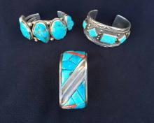 (3) Native American Silver Turquois Cuff Bracelets
