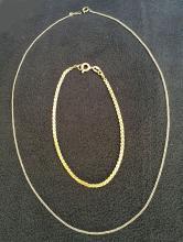 (2) 14K Gold Necklace and Bracelet