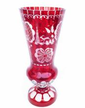 19th Century Bohemian Ruby Glass Vase