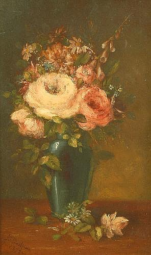 Arthur Edwards Blackmore (1854-1921) Pink Roses In