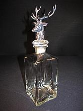 FIGURAL SILVER PLATED & GLASS DECANTER: STAG'S HEAD