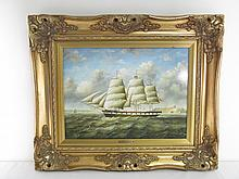 R. MARIO OIL ON PANEL NAUTICAL PAINTING: CLIPPER SHIP