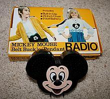 MICKEY MOUSE BELT BUCKLE RADIO/PENDANT MEMORABILIA