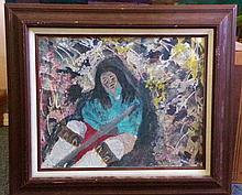 ART: INDIAN WOMAN (ACRYLIC)