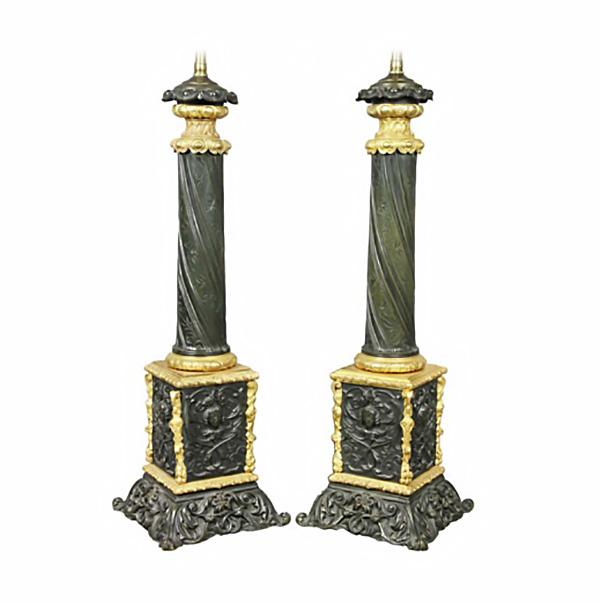 Pair Of Napoleon III Bronze And Ormolu Table Lamps