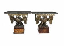Pair Of George II Style Giltwood And Faux Agate Eagle Console Tables