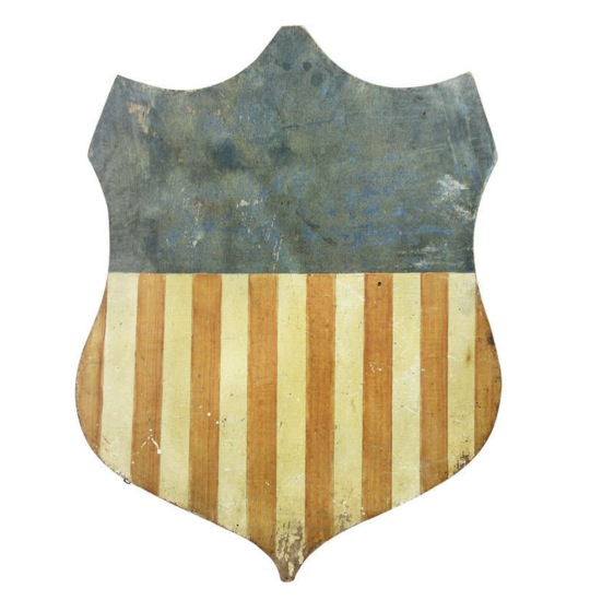 American Painted Wood Shield Form Flag