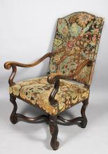 Flemish Baroque Walnut and Needlepoint Armchair