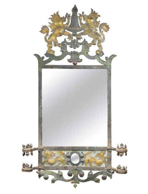 European Painted And Wrought Iron Mirror