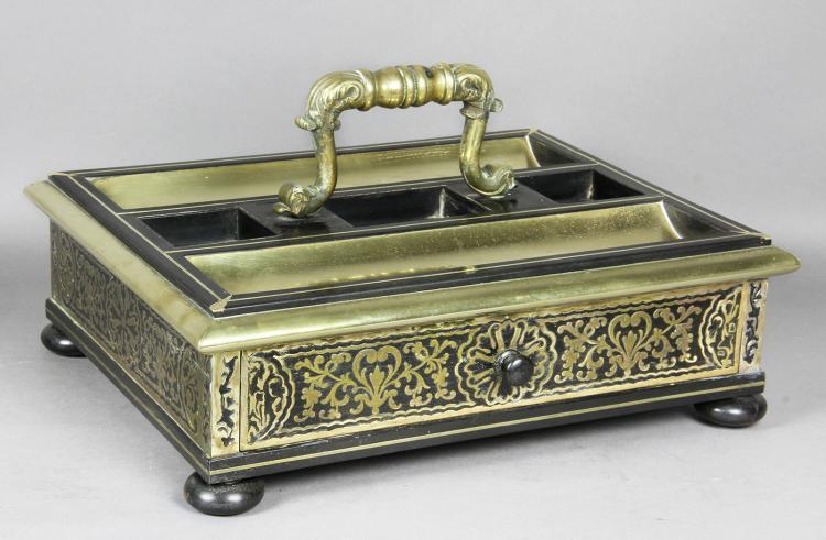 Regency Ebony And Brass Inkstand