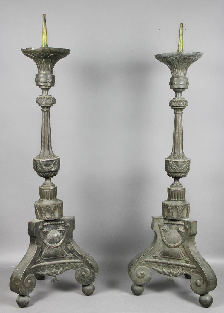 Pair Of Northern European Tole Pricket Sticks