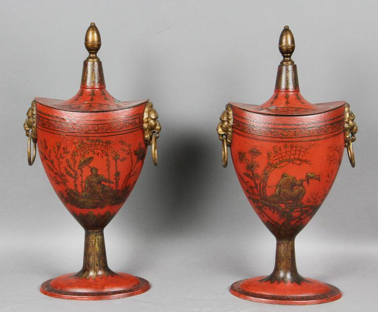 Pair Of Regency Red Tole Chestnut Urns