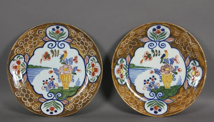 Pair Of Delft Polychrome Decorated Plates