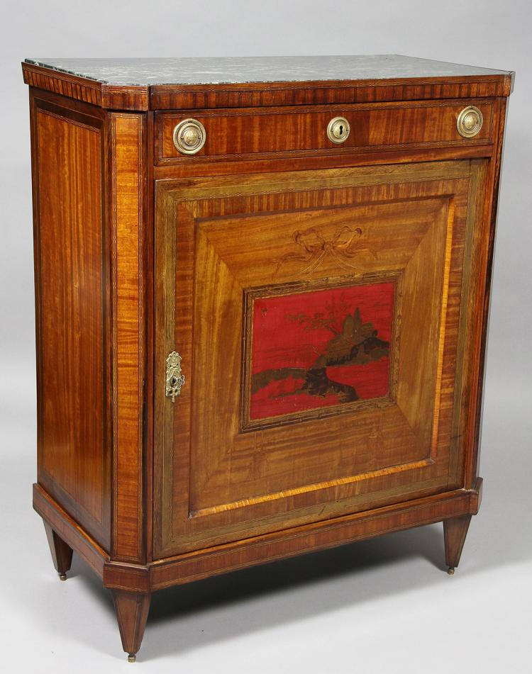 Dutch Neoclassical Satinwood And Japanned Cabinet