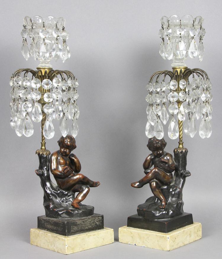 Regency Cast Metal , Bronze And Cut Glass Candlesticks