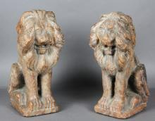 Pair of Italian Rose Marble Lions