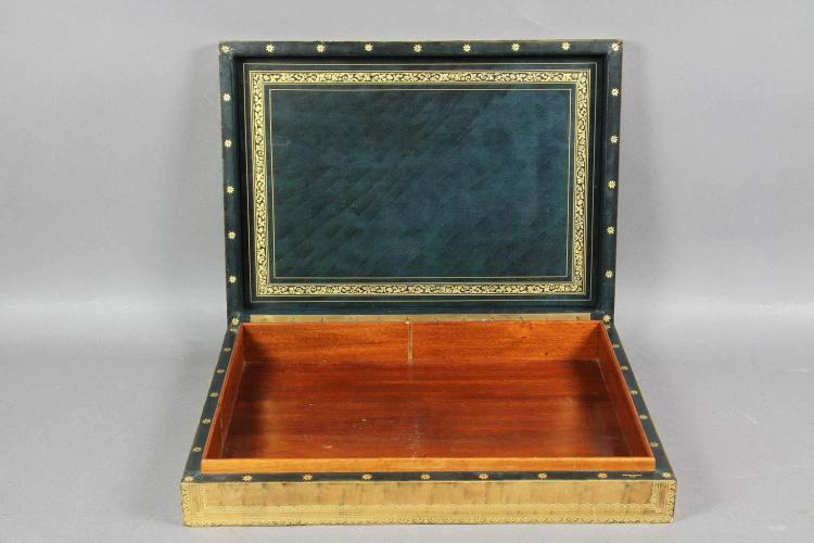 Italian Tooled Leather Box retailed by Gambinossi NY